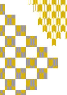 市松模様に和柄を施した年賀状、結婚式などに使える背景素材のイラスト素材 [FYI03447318]