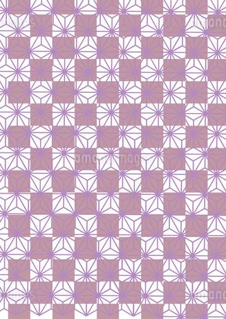 市松模様に麻の葉を施した年賀状、結婚式などに使える背景素材のイラスト素材 [FYI03447324]