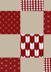 市松模様に色々な和柄を施した年賀状、結婚式などに使える背景素材のイラスト素材 [FYI03447325]
