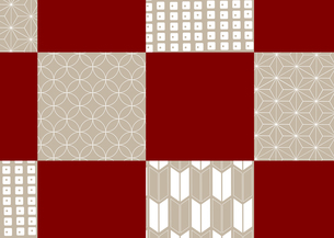 市松模様に色々な和柄を施した年賀状、結婚式などに使える背景素材のイラスト素材 [FYI03447326]