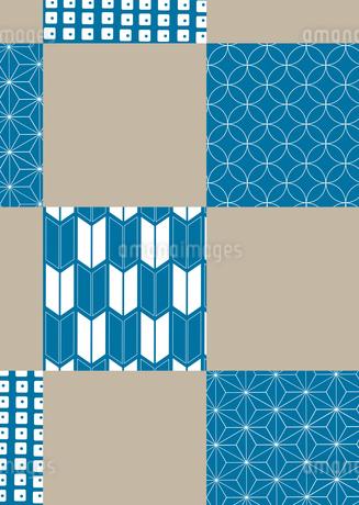 市松模様に色々な和柄を施した年賀状、結婚式などに使える背景素材のイラスト素材 [FYI03447327]