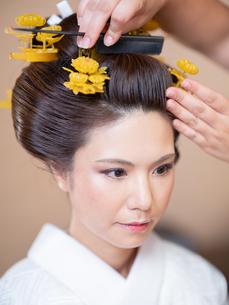 和髪をセットしている女性の写真素材 [FYI03447556]