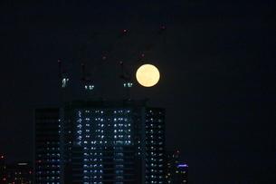 高層ビルの上に浮かぶ満月の写真素材 [FYI03447631]