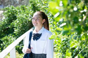 遠くを見て笑っている制服姿の女子学生の写真素材 [FYI03448905]