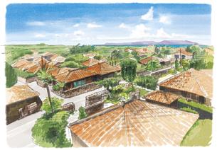 オレンジ色の屋根と緑が映える竹富島の町並みのイラスト素材 [FYI03448931]