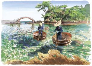 佐渡の透き通った海に浮かぶたらい舟のイラスト素材 [FYI03448934]