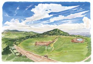 広大な草千里から望む阿蘇山のイラスト素材 [FYI03448935]