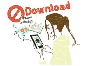 女性-スマートフォン-違法ダウンロードのイラスト素材 [FYI03449411]