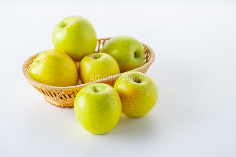 Green apples on white backgroundの写真素材 [FYI03449424]
