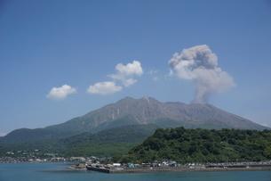 噴火中の鹿児島の写真素材 [FYI03449636]