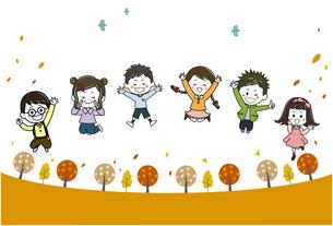 秋の散歩道 ジャンプするこどもたち イラストのイラスト素材 [FYI03450948]