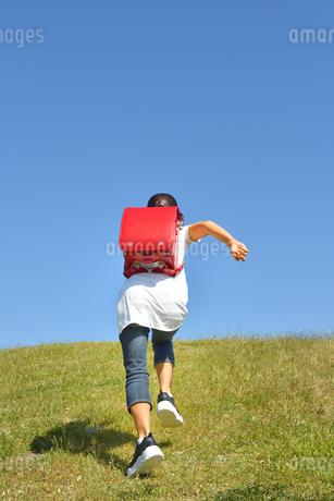 青空で走る小学生の女の子(後姿)の写真素材 [FYI03450967]