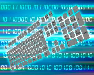デジタル空間に浮かぶキーボードのイラスト素材 [FYI03451016]
