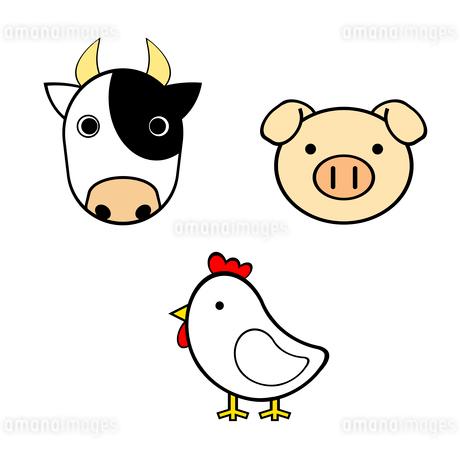 牛と豚とニワトリのイラスト素材 [FYI03451020]