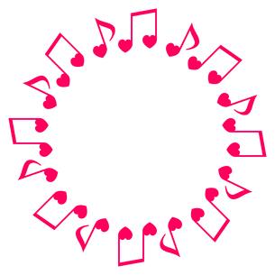 ハート型音符のフレームのイラスト素材 [FYI03451036]