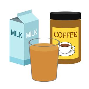コーヒー牛乳の材料のイラスト素材 [FYI03451072]