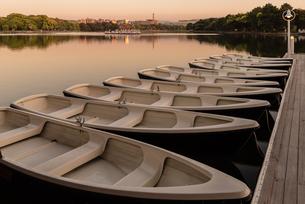 夕暮れの大濠公園とボートの写真素材 [FYI03451124]