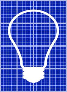 ソーラーパネルに映る電球のイラスト素材 [FYI03451198]