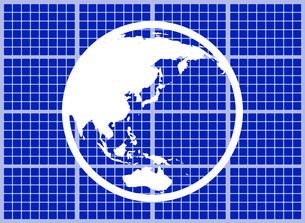 ソーラーパネルに映る地球のイラスト素材 [FYI03451199]