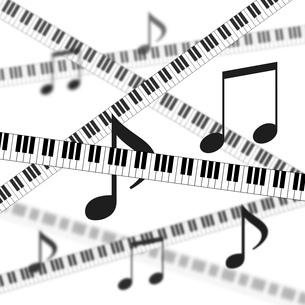 鍵盤と音符の背景のイラスト素材 [FYI03451206]
