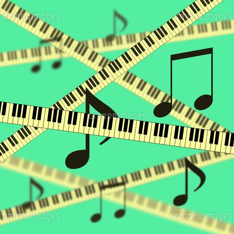 鍵盤と音符の背景のイラスト素材 [FYI03451207]