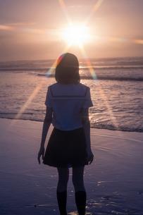 女子高生 海 後ろ姿 輝きの写真素材 [FYI03451871]