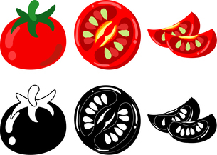 トマトの可愛いアイコンのイラスト素材 [FYI03452303]
