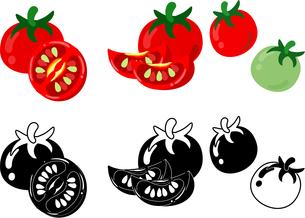 トマトの可愛いアイコンのイラスト素材 [FYI03452304]