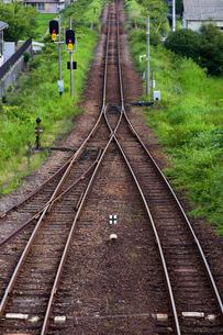 日本の風景、四国牟岐線、線路がつくる風景の写真素材 [FYI03452489]