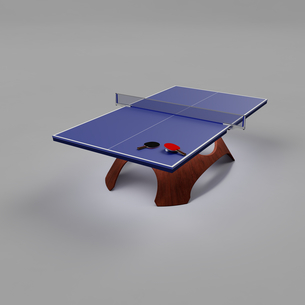 おしゃれなデザインの脚を備えた卓球台の上に置かれた2本の卓球用のラケットと1個の卓球用のボール(3D CG画像)のイラスト素材 [FYI03452938]