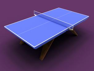 ちょっとお洒落な木製の脚を備えた卓球台(3D CG画像)のイラスト素材 [FYI03453165]