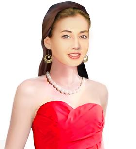オレンジのドレスを着た女性のイラスト素材 [FYI03453446]
