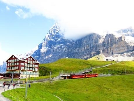 スイス、アルプスの草原を赤い列車が走るの写真素材 [FYI03453602]