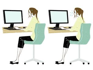 女性-デスクトップPC-全身-困るのイラスト素材 [FYI03453766]