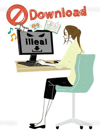 女性-デスクトップPC-全身-違法ダウンロードのイラスト素材 [FYI03453768]
