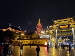 中国 無錫 WUXI 寺院 夜景の写真素材 [FYI03453967]