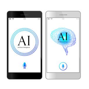 イラスト素材: 音声認識青色UI人工知能AIのスマートフォンアプリケーションのイラスト素材 [FYI03454031]