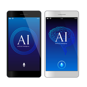 イラスト素材: 音声認識青色UI人工知能AIのスマートフォンアプリケーションのイラスト素材 [FYI03454033]