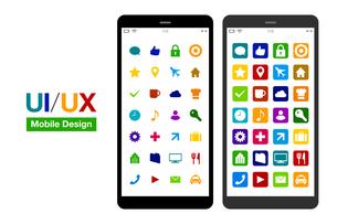 スマートフォンUI/UXシンプルモックデザインのイラストレーションのイラスト素材 [FYI03454042]