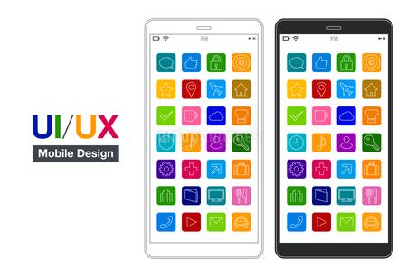 スマートフォンUI/UXシンプルモックデザインのイラストレーションのイラスト素材 [FYI03454043]