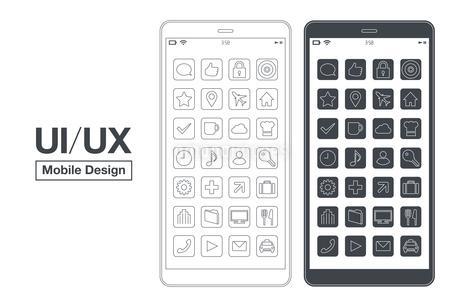 スマートフォンUI/UXシンプルモックデザインのイラストレーションのイラスト素材 [FYI03454045]