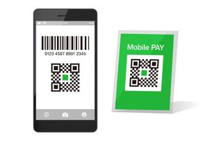 スマホ決済QRアプリのスマートフォンイメージイラスト素材のイラスト素材 [FYI03454103]
