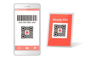 スマホ決済QRアプリのスマートフォンイメージイラスト素材のイラスト素材 [FYI03454104]