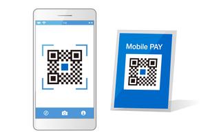 スマホ決済QRアプリのスマートフォンイメージイラスト素材のイラスト素材 [FYI03454106]