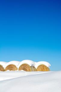 冬の青空と雪がのったムギロールの写真素材 [FYI03455016]
