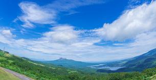 北海道 自然 風景 バノラマ きじひき高原展望台より駒ヶ岳方面遠望 (魚眼)の写真素材 [FYI03455490]
