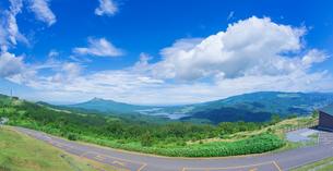北海道 自然 風景 パノラマ きじひき高原展望台より駒ヶ岳方面遠望 (魚眼)の写真素材 [FYI03455495]