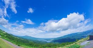 北海道 自然 風景 パノラマ きじひき高原展望台より駒ヶ岳方面遠望 (魚眼)の写真素材 [FYI03455500]