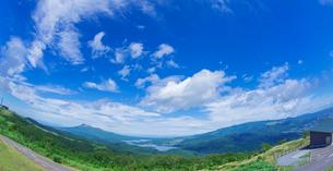 北海道 自然 風景 パノラマ きじひき高原展望台より駒ヶ岳方面遠望 (魚眼)の写真素材 [FYI03455505]