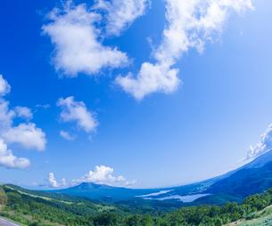 北海道 自然 風景 きじひき高原展望台より駒ヶ岳方面遠望 (魚眼)の写真素材 [FYI03455506]
